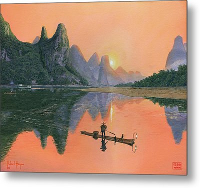 The Cormorant Fisherman Li River Guilin China  Metal Print by Richard Harpum