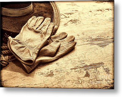 The Cowboy Gloves Metal Print by American West Legend By Olivier Le Queinec