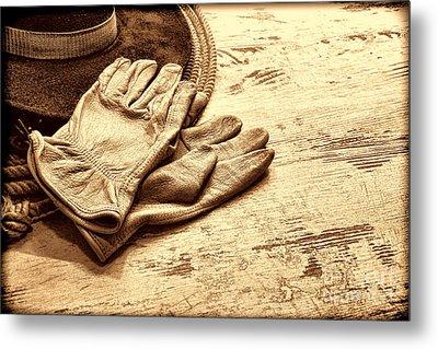 The Cowboy Gloves Metal Print