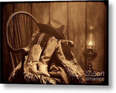 The Cowgirl Rest Metal Print by American West Legend By Olivier Le Queinec