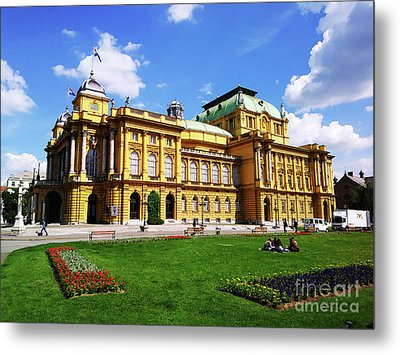The Croatian National Theater In Zagreb, Croatia Metal Print by Jasna Dragun
