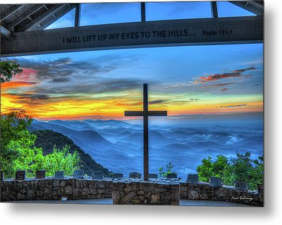 The Cross Sunrise At Pretty Place Chapel Metal Print by Reid Callaway
