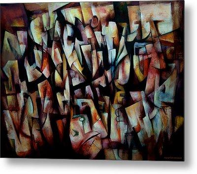 Metal Print featuring the painting The Crowds by Kim Gauge