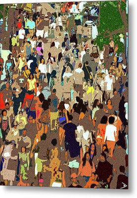 Metal Print featuring the painting The Crowd by David Lee Thompson