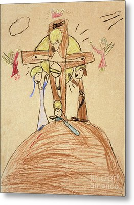 Metal Print featuring the drawing The Crucifixion By Fr. Bill At Age 5 by William Hart McNichols