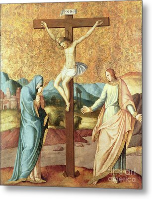 The Crucifixion With The Virgin And St John The Evangelist Metal Print by French School
