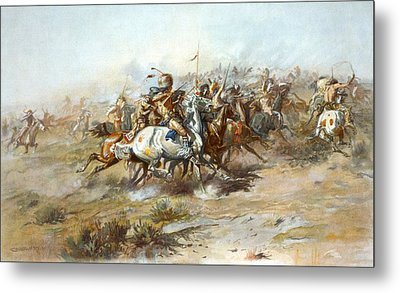 The Custer Fight Metal Print by Charles Russell