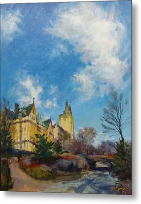 The Dakota And San Remo Towers From Central Park West Metal Print by Peter Salwen