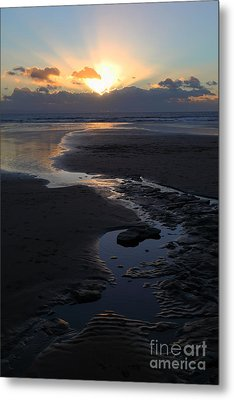 The Days Last Rays At Dunraven Bay Wales Metal Print by James Brunker