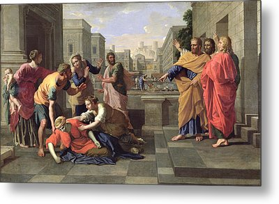 The Death Of Sapphira Metal Print by Nicolas Poussin