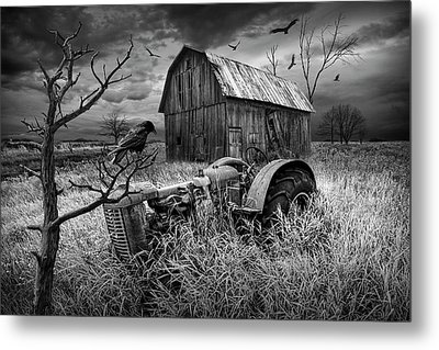 Metal Print featuring the photograph The Decline And Death Of The Small Farm In Black And White by Randall Nyhof
