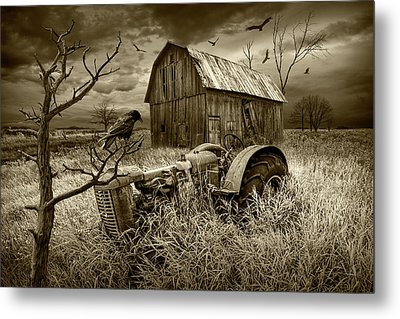 Metal Print featuring the photograph The Decline And Death Of The Small Farm In Sepia Tone by Randall Nyhof