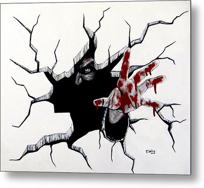 Metal Print featuring the painting The Demon Inside by Teresa Wing