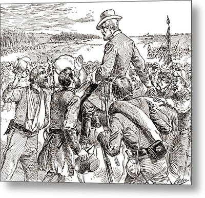 The Departure Of General Robert E Lee From His Soldiers Prior To His Surrender To Grant Metal Print by American School