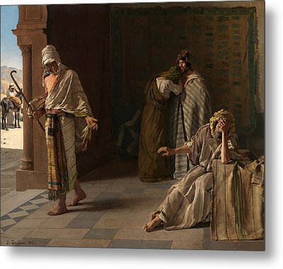 The Departure Of The Prodigal Son Metal Print by Edouard de Jans