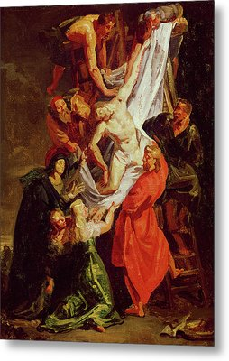 The Descent From The Cross Metal Print by Ferdinand Victor Eugene Delacroix