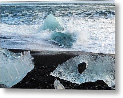 Metal Print featuring the photograph The Diamond Beach, Jokulsarlon, Iceland by Dubi Roman