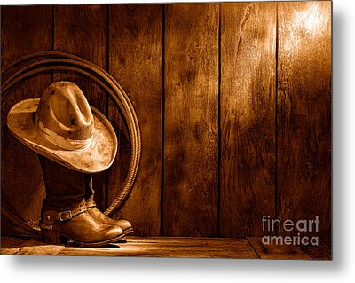 The Dirty Hat - Sepia Metal Print by Olivier Le Queinec