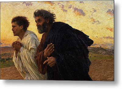 The Disciples Peter And John Running To The Sepulchre On The Morning Of The Resurrection Metal Print by Eugene Burnand