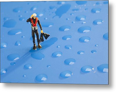 Metal Print featuring the photograph The Diver Among Water Drops Little People Big World by Paul Ge