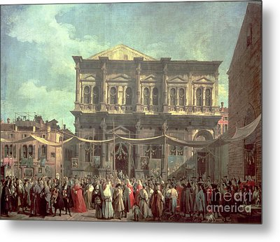 The Doge Visiting The Church And Scuola Di San Rocco Metal Print by Canaletto