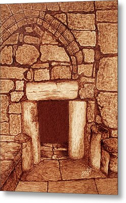 Metal Print featuring the painting The Door Of Humility At The Church Of The Nativity Bethlehem by Georgeta Blanaru