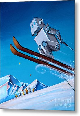 The Downhill Race Metal Print by Cindy Thornton