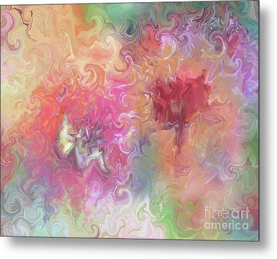 Metal Print featuring the painting The Dragon And The Faerie by Roxy Riou