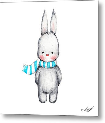 The Drawing Of Cute Bunny In Scarf Metal Print by Anna Abramska
