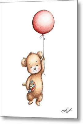 The Drawing Of Teddy Bear With Red Balloon And Flowers Metal Print