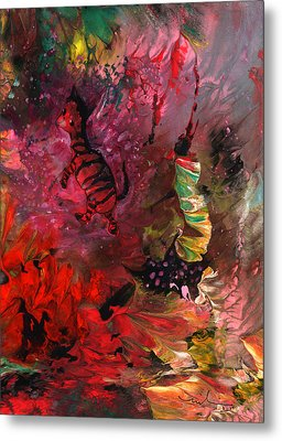 The Dream Of A Red Zebra In Africa Metal Print by Miki De Goodaboom