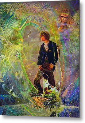 Metal Print featuring the painting The Dreamer-angel Tarot Card by Steve Roberts