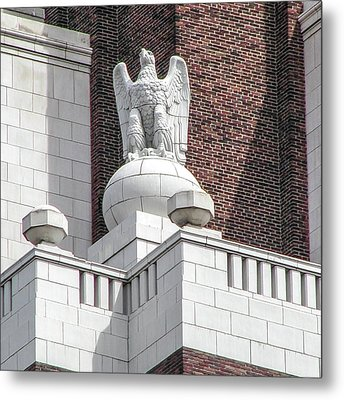 Metal Print featuring the photograph The Eagle On The United States Custom House Philadelphia Pennsyl by Bill Cannon