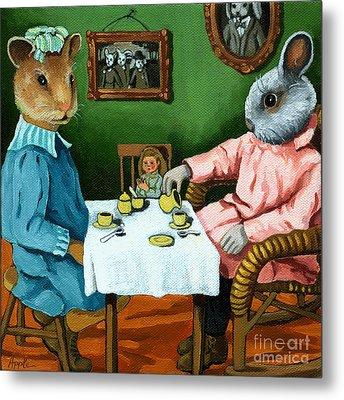 The Easter Tea Party Metal Print by Linda Apple