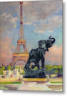 The Eiffel Tower And The Elephant By Fremiet Metal Print by Jules Ernest Renoux
