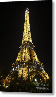 The Eiffel Tower At Night Illuminated, Paris, France. Metal Print by Perry Van Munster
