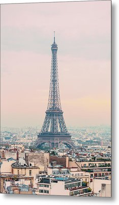 The Eiffel Tower At Sunset From The L'arc De Triomph Paris France Metal Print by Maggie McCall