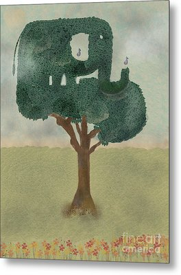 Metal Print featuring the painting The Elephant Tree by Bri B
