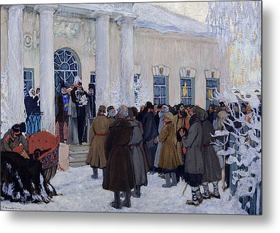 The Emancipation Of Russian Serfs Metal Print by Boris Mihajlovic Kustodiev
