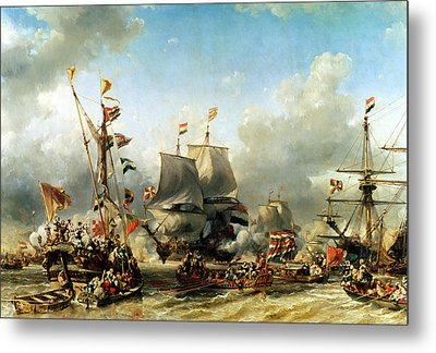 The Embarkation Of Ruyter And William De Witt In 1667 Metal Print by Louis Eugene Gabriel Isabey
