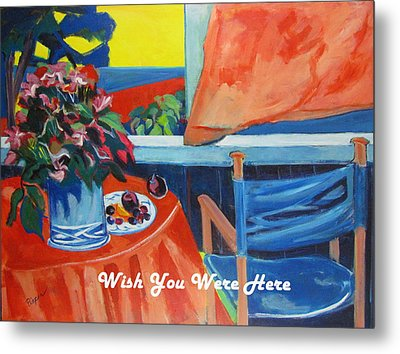 The Empty Blue Canvas Chair Metal Print by Betty Pieper