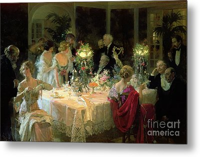 The End Of Dinner Metal Print by Jules Alexandre Grun
