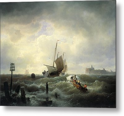 The Entrance To The Harbour At Hellevoetsluys Metal Print by Andreas Achenbach