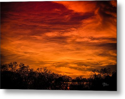 The Evening Sky Of Fire Metal Print by David Collins