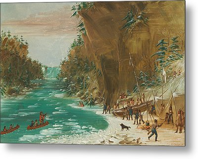 The Expedition Encamped Below The Falls Of Niagara Metal Print