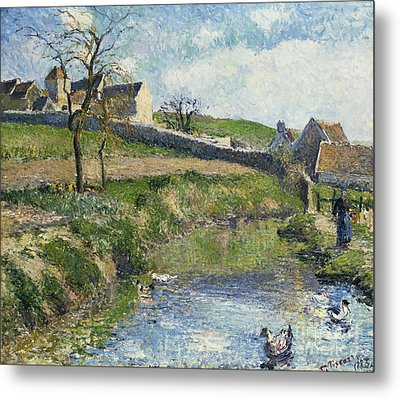 The Farm At Osny Metal Print by Camille Pissarro