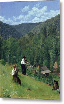 The Farmer And His Son At Harvesting Metal Print by Thomas Pollock Anschutz