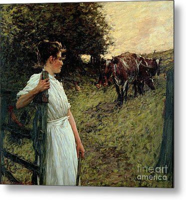 The Farmer's Daughter Metal Print by Henry Herbert La Thangue