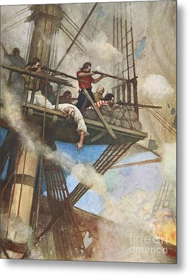 The Fight In The Fire-tops Against An English Ship Metal Print