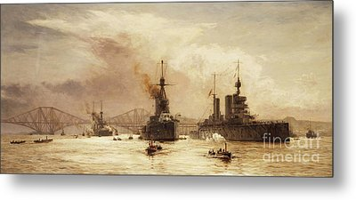 The First Battle Squadron Leaving The Forth For The Battle Of Jutland Metal Print by William Lionel Wyllie